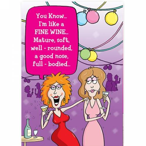 Fine Wine Mature Soft Female Funny Card