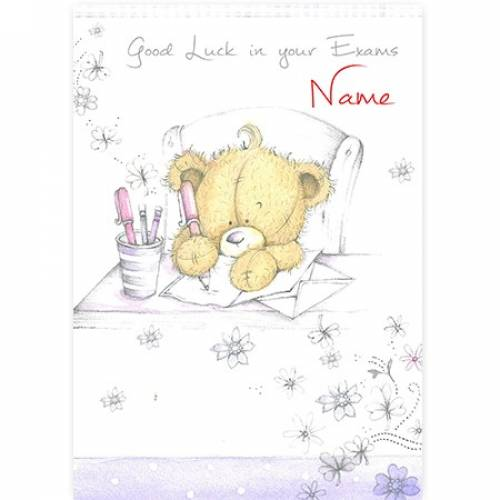 Bear Writing Good Luck In Your Exams Card