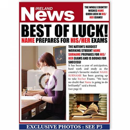 Best Of Luck - Exam Preparation Card