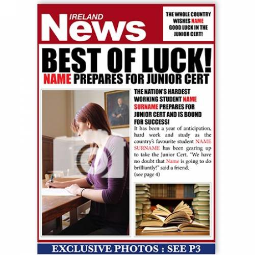 Best Of Luck Junior Cert - Exam Prep Card