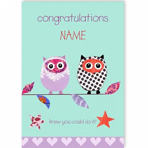 Congratulations - Knew You Could Do It Owls Card