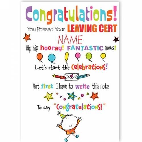 Congratulations - Leaving Cert Card