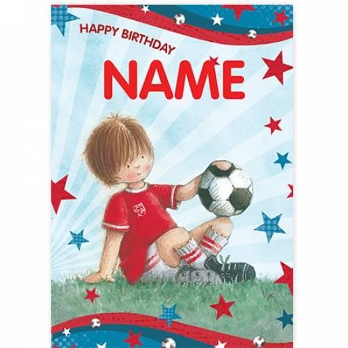 Boy Football Soccer Happy Birthday Card