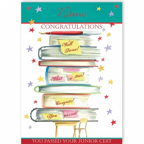 Books Congratulations You Passed Your Junior Cert Card