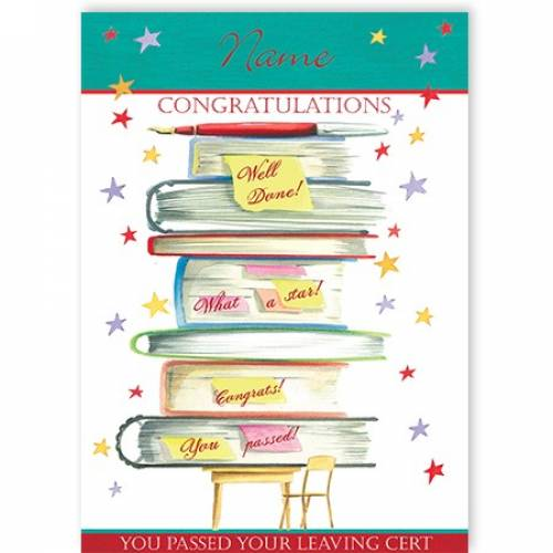 Books Congratulations You Passed Your Leaving Cert Card