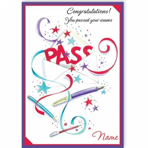 Congratulations You Passed Your Exams-pass Card