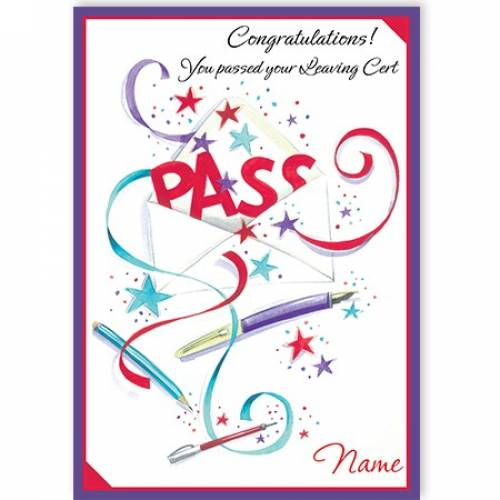 Congratulations You Passed Your Leaving Cert-pass Card