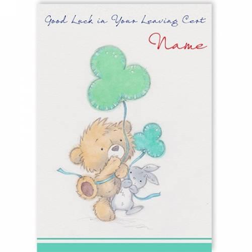 Good Luck In Our Leaving Cert Shamrock Teddy Rabbit Card