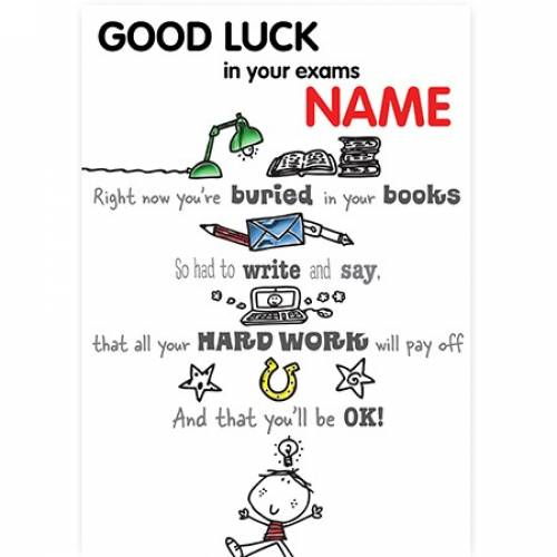 Good Luck Exams - Buried In Books, Hard Work Card