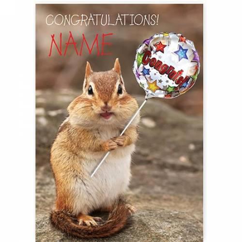 Congratulations Squirrel With Balloon Card