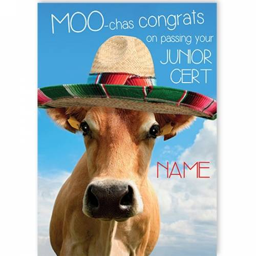 Congrats On Passing Your Junior Cert, Bull In Sombrero Card
