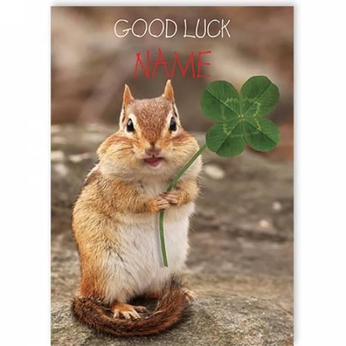 Good Luck Four Leaf Clover Card