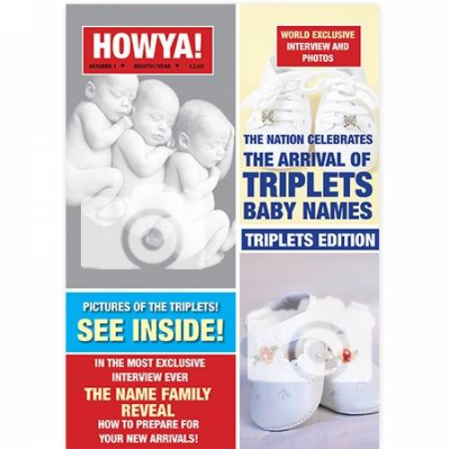 Howya Arrival Of Triplets Photo Personalised Card