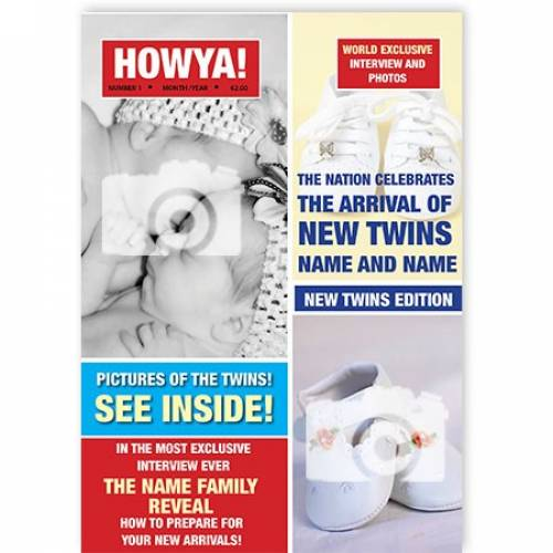 Magazine Two Photo Twins New Baby Card