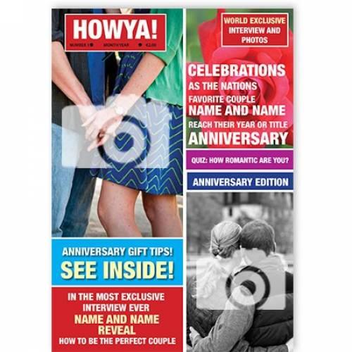 Magazine Two Photo Anniversary Card