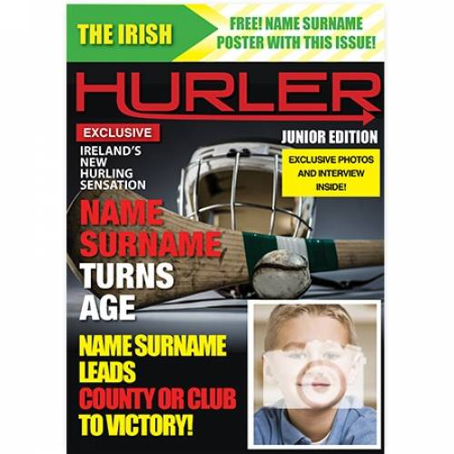 `hurler Hurling Name Surname Photo Personalised Birthday Age Card