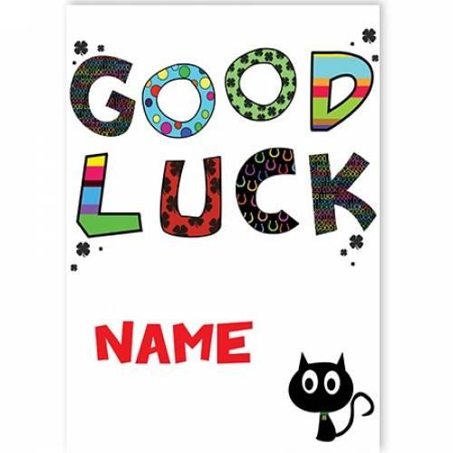 Good Luck Four Leaf Clover Cat Name Stripes Card