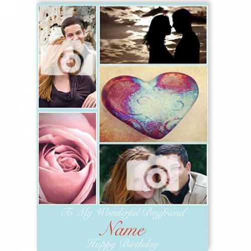 Birthday Boyfriend Man Love Flower Photo Rose Blue Card