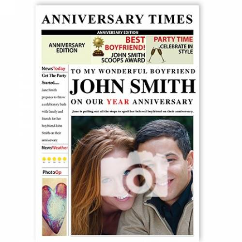 Anniversary Times Name Photo Newspaper Couple Card