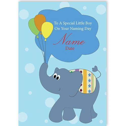 Naming Boy Male Elephant Balloons Card