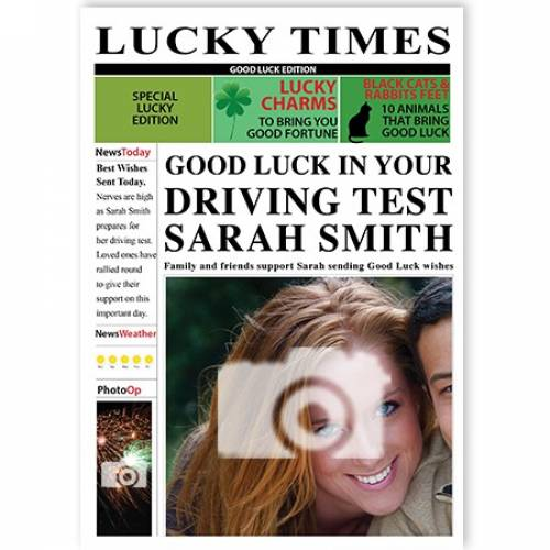 Newspaper Good Luck In Your Driving Test Card