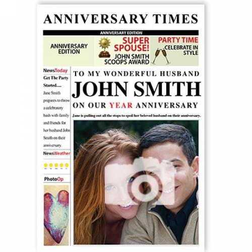 Newspaper To My Wonderful Husband Anniversary Card