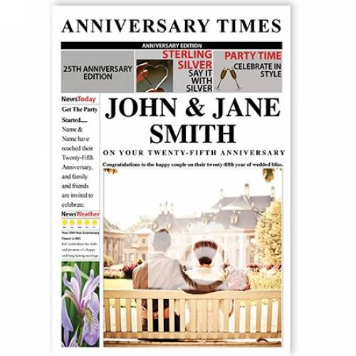Newspaper 25th Silver Anniversary Card