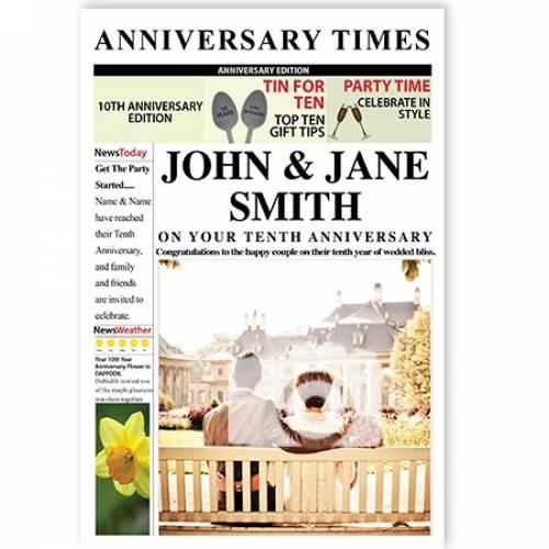 Newspaper 10th Tin Aluminum Anniversary Card