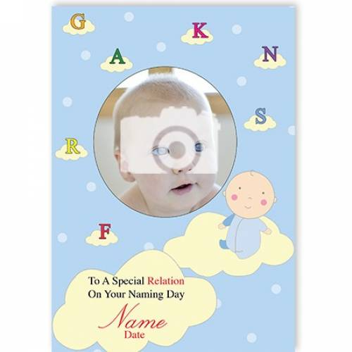 Naming Day Letter On A Cloud Card