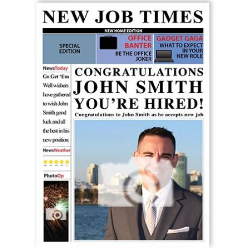 New Job Times Congratulations Your'e Hired Card
