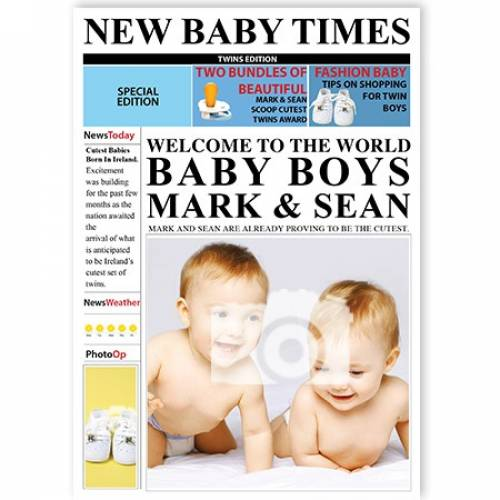 New Baby Times Welcome To The World Baby Boys Card