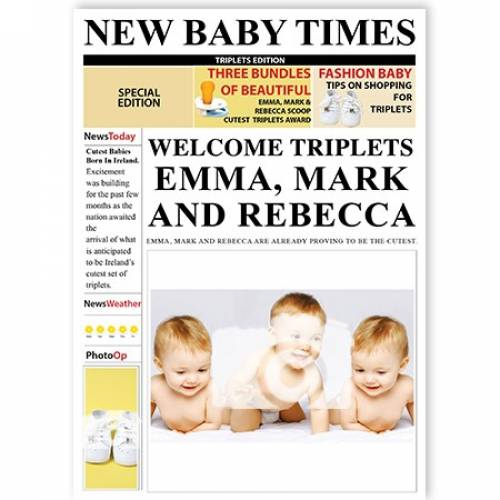 New Baby Times Welcome Triplets Card