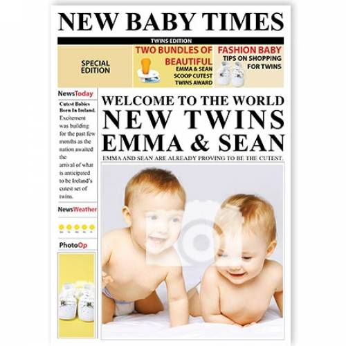 New Baby Times Welcome To The World Twins Card