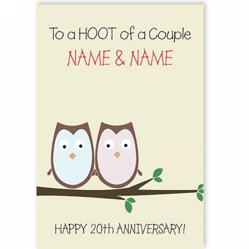 A Hoot Of A Couple 20th Anniversary Card