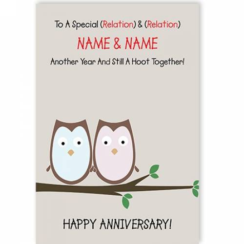 Still A Hoot Together Anniversary Card