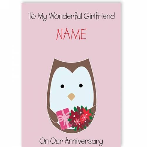 Owl To My Wonderful Girlfriend Happy Anniversary Card