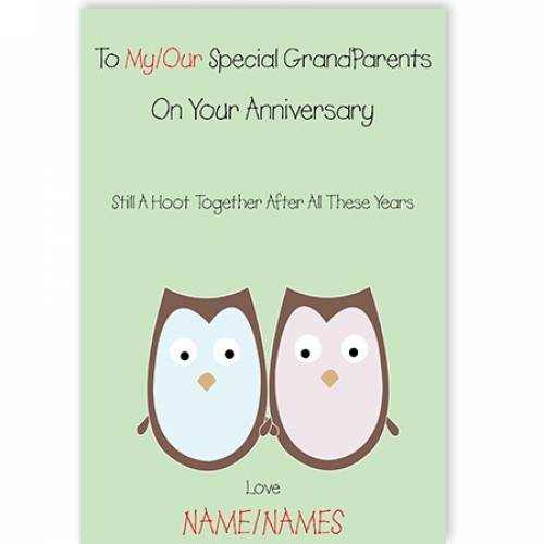 Owls To Our/my Special Grandparents Happy Anniversary Card