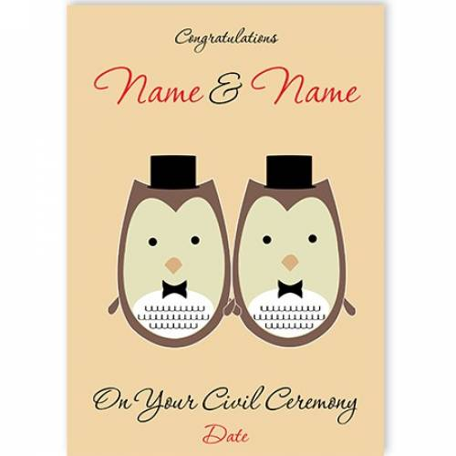 Two Owls In Tuxes On Your Civil Ceremony Card