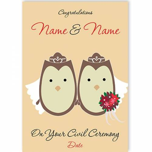 Two Owls In Veils On Your Civil Ceremony Card