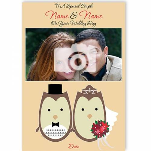 Owls Photo Special Couple On Your Wedding Day Card