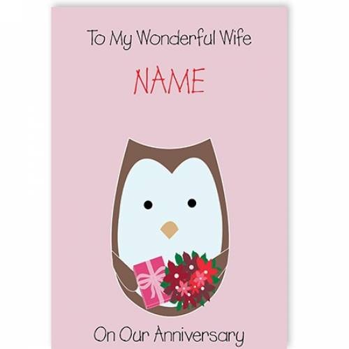 Pink Owl To My Wife On Our Anniversary Card