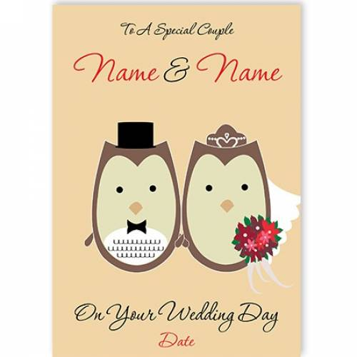 Owls To A Special Couple On Your Wedding Day Card