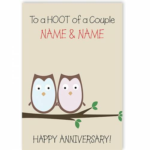 Owls To A Hoot Of A Couple Happy Anniversary Card