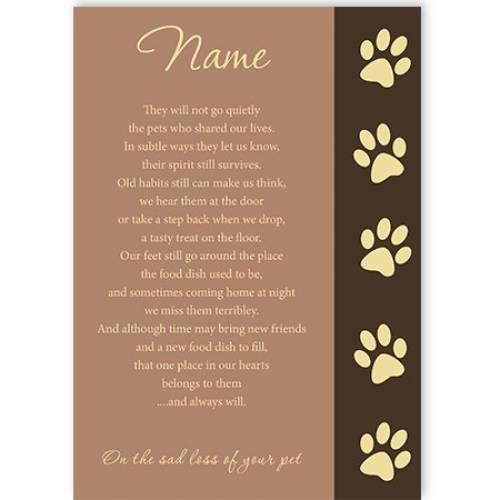 Poem Sad Loss Of Your Pet Sympathy Card