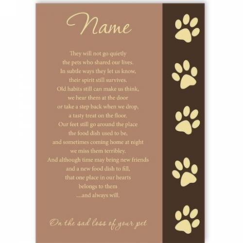 Poem Sad Loss Of Your Pet Sympathy Card
