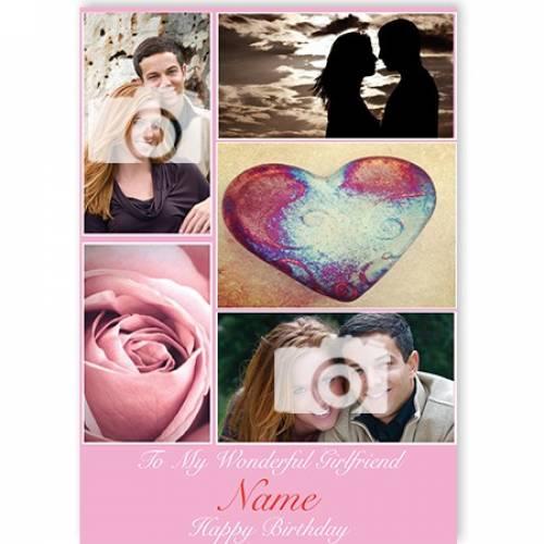 Two Photos Heart Rose To My Wonderful Girlfriend Happy Birthday Card