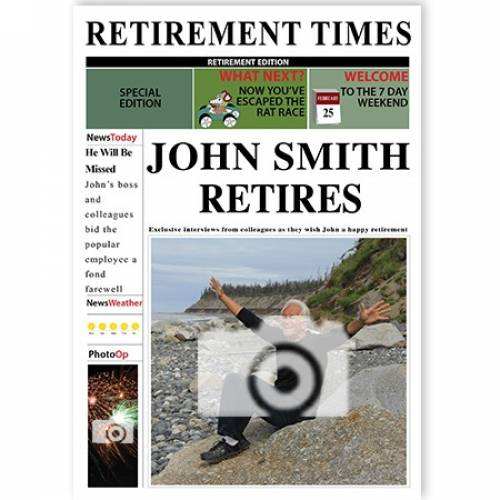 Male Retirement Times Newspaper Cover Upload Photo Card