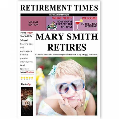 Female Retirement Times Newspaper Cover Photo Upload Card