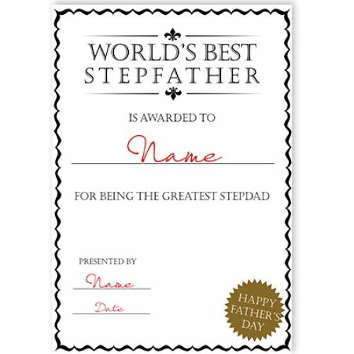 World's Best Stepfather Certificate Card