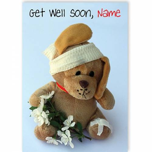 Get Well Soon Teddy Bandages Card